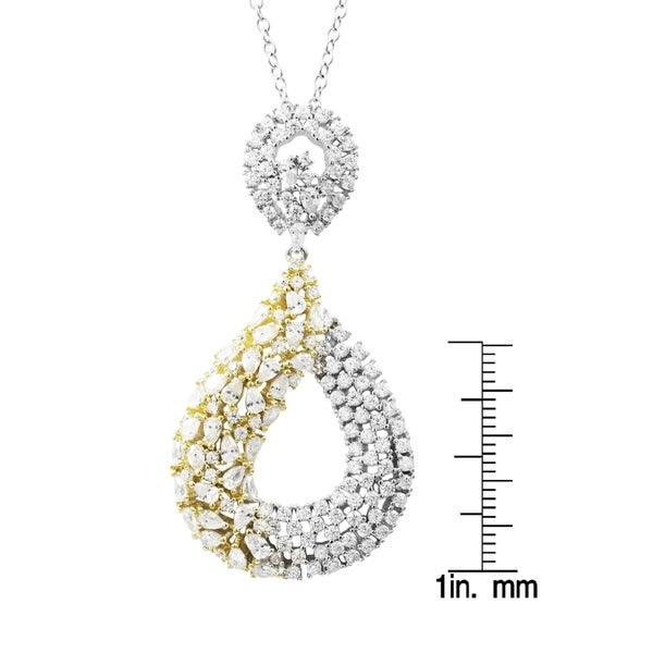 Luxiro Sterling Silver Two-tone Finish CZ's Open Teardrop Pendant Necklace