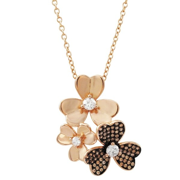 Luxiro Sterling Silver Two-tone Finish Champagne CZ's Floral Pendant Necklace. Opens flyout.