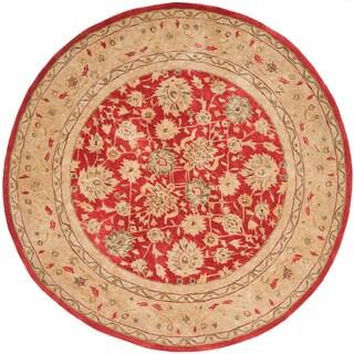 Safavieh Handmade Anatolia Oriental Red/ Ivory Hand-spun Wool Rug (8' Round)