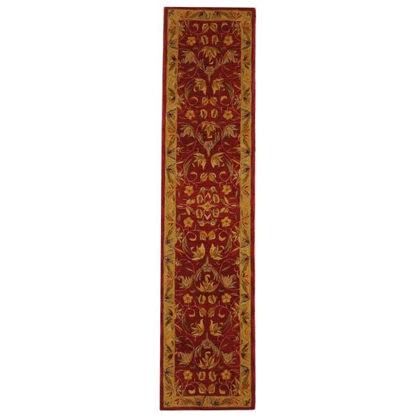 Safavieh Handmade Hereditary Burgundy/ Gold Wool Runner (2'3 x 8')