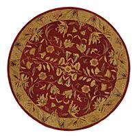 Safavieh Handmade Anatolia Oriental Burgundy/ Gold Hand-spun Wool Rug (4' Round)