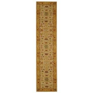 Safavieh Handmade Anatolia Oriental Traditional Ivory/ Gold Hand-spun Wool Runner (2'3 x 8')