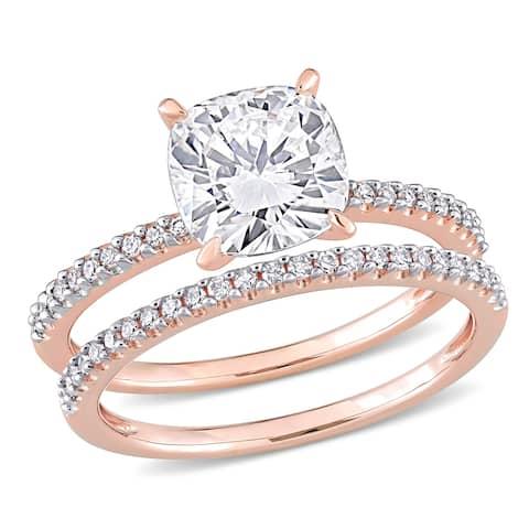 Miadora 2ct DEW Cushion-cut Moissanite and 1/4ct TDW Diamond Bridal Ring Set in 14k Rose Gold