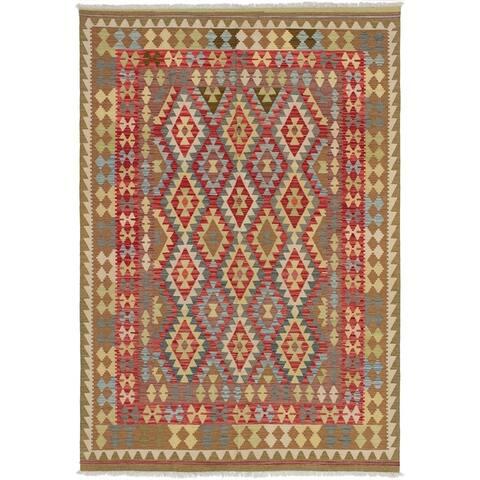 Flat-weave Kashkoli Red Wool Kilim