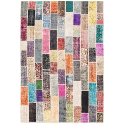 Hand-knotted Color Patchwork Multi Color Wool Rug