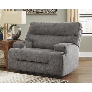 Coombs Contemporary Wide Seat Power Recliner, Charcoal