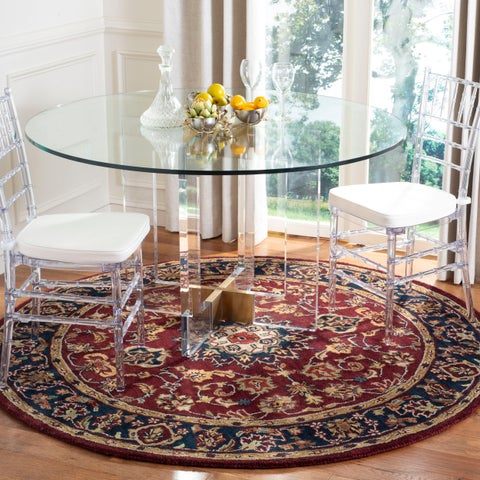 Safavieh Handmade Classic Kerman Burgundy/ Navy Wool Rug - 8' x 8' Round