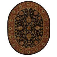"Safavieh Handmade Heritage Traditional Kerman Black/ Peach Wool Rug - 4'6"" x 6'6"" oval"