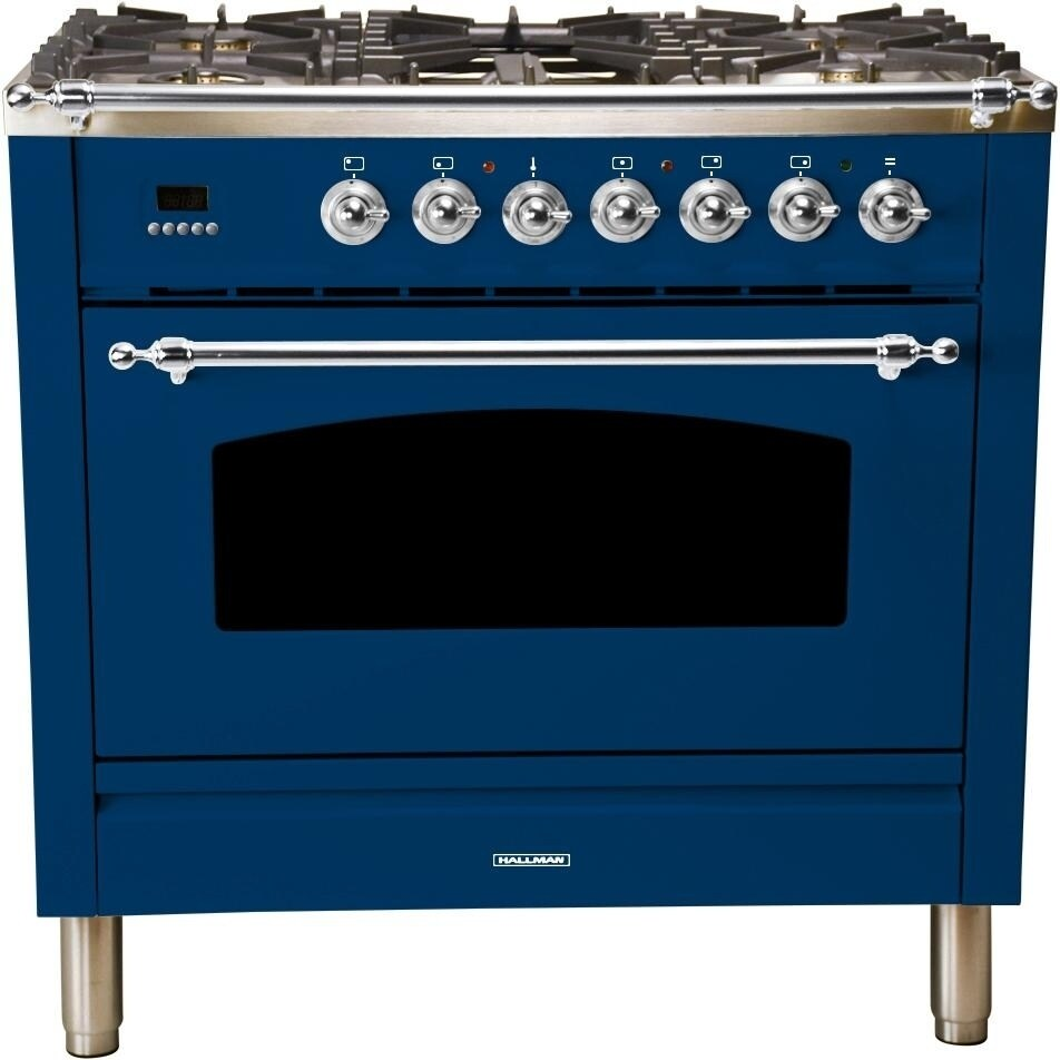 """Overstock Ilve UPN90FDMPBLX 36"""" Nostalgie Series Dual Fuel Natural Gas Range, Capacity True Convection Oven, with Chrome Trim, in Blue"""