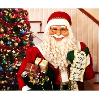 Fraser Hill Farm Life-Size Indoor Christmas Decoration, 5-Ft. Standing Santa Claus with Scroll, Wearing Red Velvet Suit