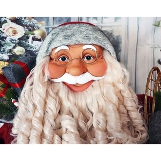 Fraser Hill Farm Life-Size Indoor Christmas Decoration, 5-Ft. Standing Santa Claus Holding Snowshoes & Wearing a Nordic Sweater
