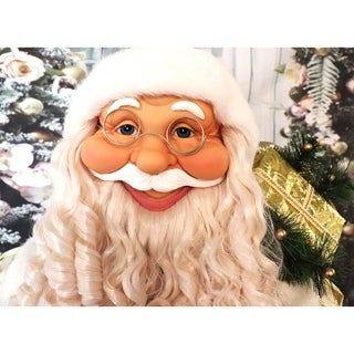 Link to Fraser Hill Farm Life-Size Indoor Christmas Decoration, 5-Ft. Standing Santa Claus Holding a Gift & Wearing a Gold Brocade Robe Similar Items in Christmas Clothing