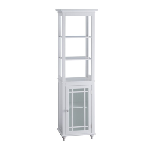 Andis Linen Tower with Three Open Shelves and One Door