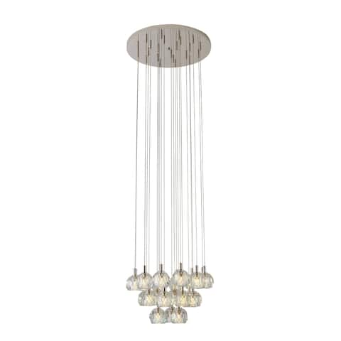 Polished Nickel Chandelier with Clear Crystal Balls