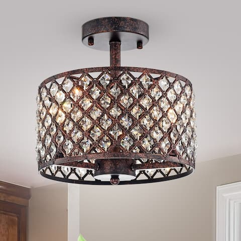 Gracewood Hollow Kang Rustic Bronze 3-light Semi-flush Mount with Crystal Drum Shade Accents