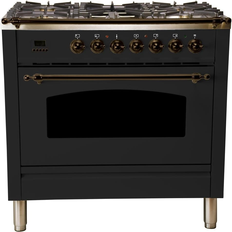 """Overstock Ilve UPN90FDMPNY 36"""" Nostalgie Series Dual Fuel Natural Gas Range, with Bronze Trim, in Glossy Black"""