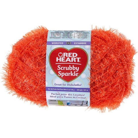 Red Heart Scrubby Sparkle Yarn-Orange