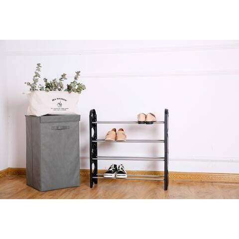 Shoe Rack Organizer 4 Tiers Durable Layer Shelf Holder Stackable 12 Shoes Rack