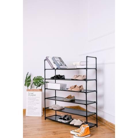 Shoe Rack Organizer 6 Tiers Durable Layer Shelf Holder Stackable 25 Shoes Rack