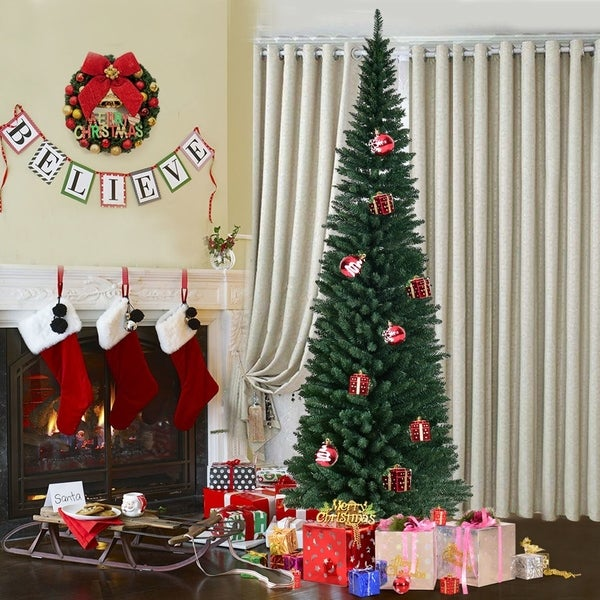 PVC Artificial Christmas Pencil Tree Slim with Stand Holiday Decor. Opens flyout.