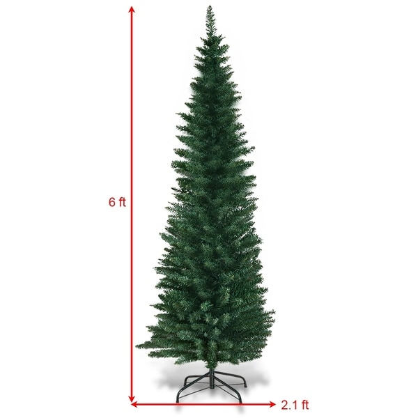 PVC Artificial Christmas Pencil Tree Slim with Stand Holiday Decor