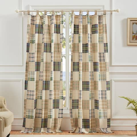 Greenland Home Oxford Curtain Panel Pair (Set of 2), Tab Top