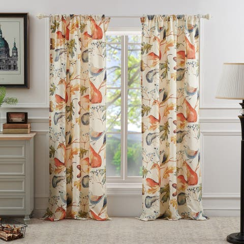 Porch & Den Morilon Forest Wildlife Window Curtain Panel Pair (Set of 2)