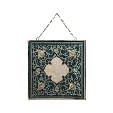 "Eldi Oriental Tempered Glass Wall Accessory by Christopher Knight Home - 0.25"" D x 12.00"" W x 12.00"" H"