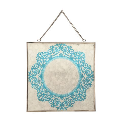 """Elgin Oriental Tempered Glass Wall Accessory by Christopher Knight Home - 0.25"""" D x 12.00"""" W x 12.00"""" H"""