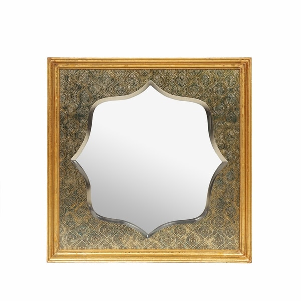 "Gannaway Embossed Square Mirror by Christopher Knight Home - 23.00"" L x 23.00"" W x 1.75"" D. Opens flyout."