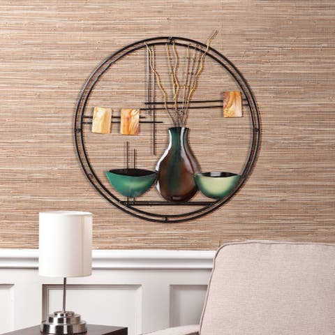 Copper Grove Bugleweed Circular Metal Wall Art