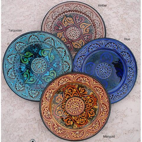 Handmade Petite Royale Engraved Ceramic Plate (Morocco)