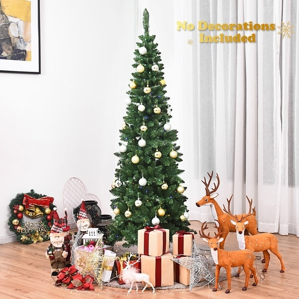 Pre-Lit PVC Artificial Pencil Christmas Tree Colorful Light with Stand. Opens flyout.