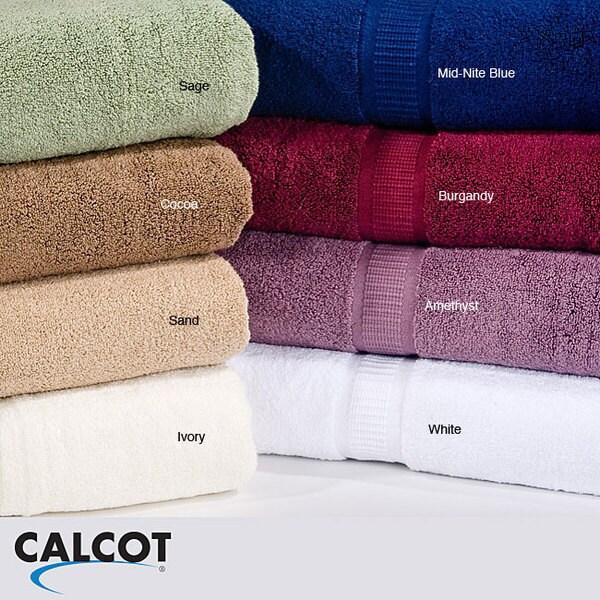 Calcot Supima Zero Twist Foldover Edging Cotton Bath Sheet (Set of 2)
