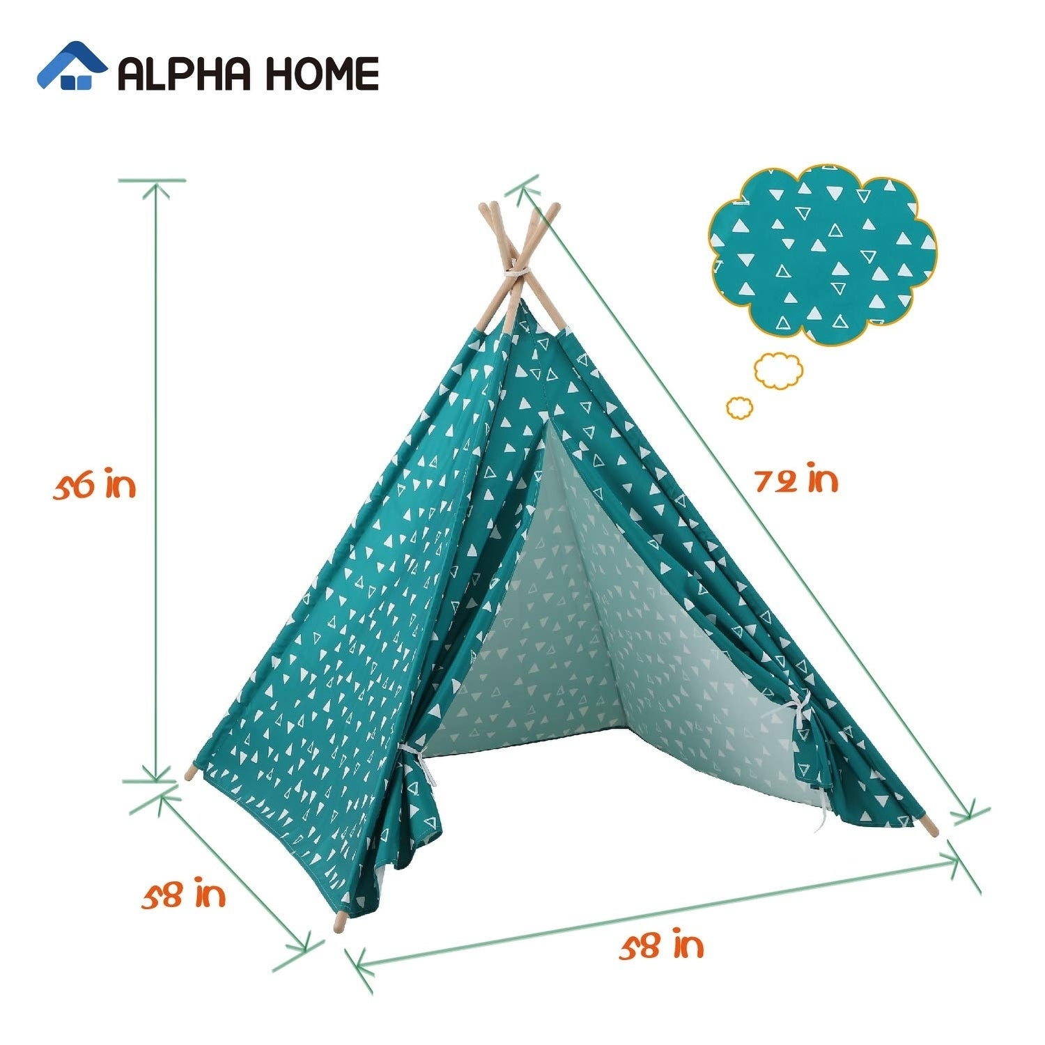 Tents Tunnels Kids Furniture Room Decor Alpha Home Teepee Tent For Kids Canvas Childs Play Teepee Tent Indoor Outdoor With Carry Bag 58 X 58 X 56 Kids Furniture