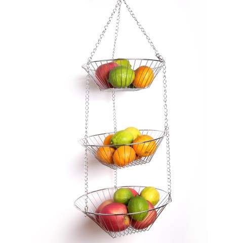 Creative Home Chrome Plated 3-tier Adjustable Kitchen Storage Hanging Basket