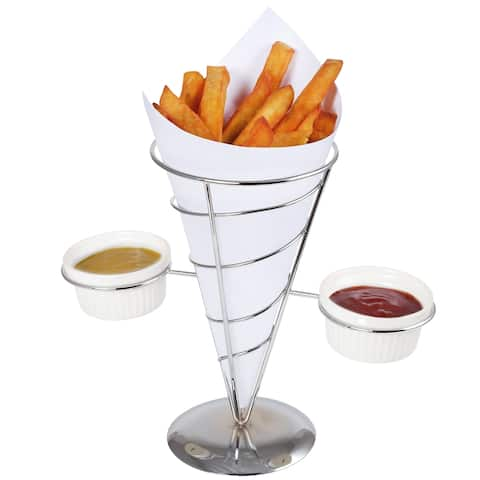 Creative Home Chrome Works French Fry Holder Set with Chrome Finish