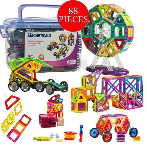 Dimple Magneticals Toys Tile Set (88-Piece Set) Stack,Creativity, Imagination Magnetic Building Toys for Kids