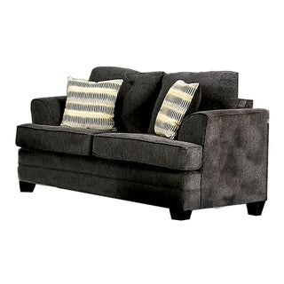 Fabric Upholstered Wooden Loveseat with Flared Arms, Gray