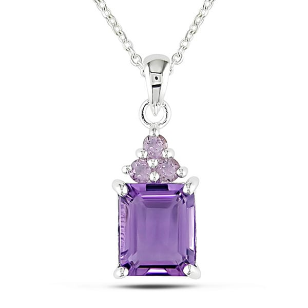 M by Miadora Sterling Silver Amethyst and Rose de France Necklace