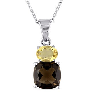 M by Miadora Sterling Silver Smokey Quartz and Citrine Necklace
