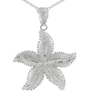 Sterling Silver Large Textured Starfish Pendant Necklace