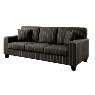 Link to Fabric Upholstered Wooden Sofa with Strip Pattern, Gray Similar Items in Sofas & Couches