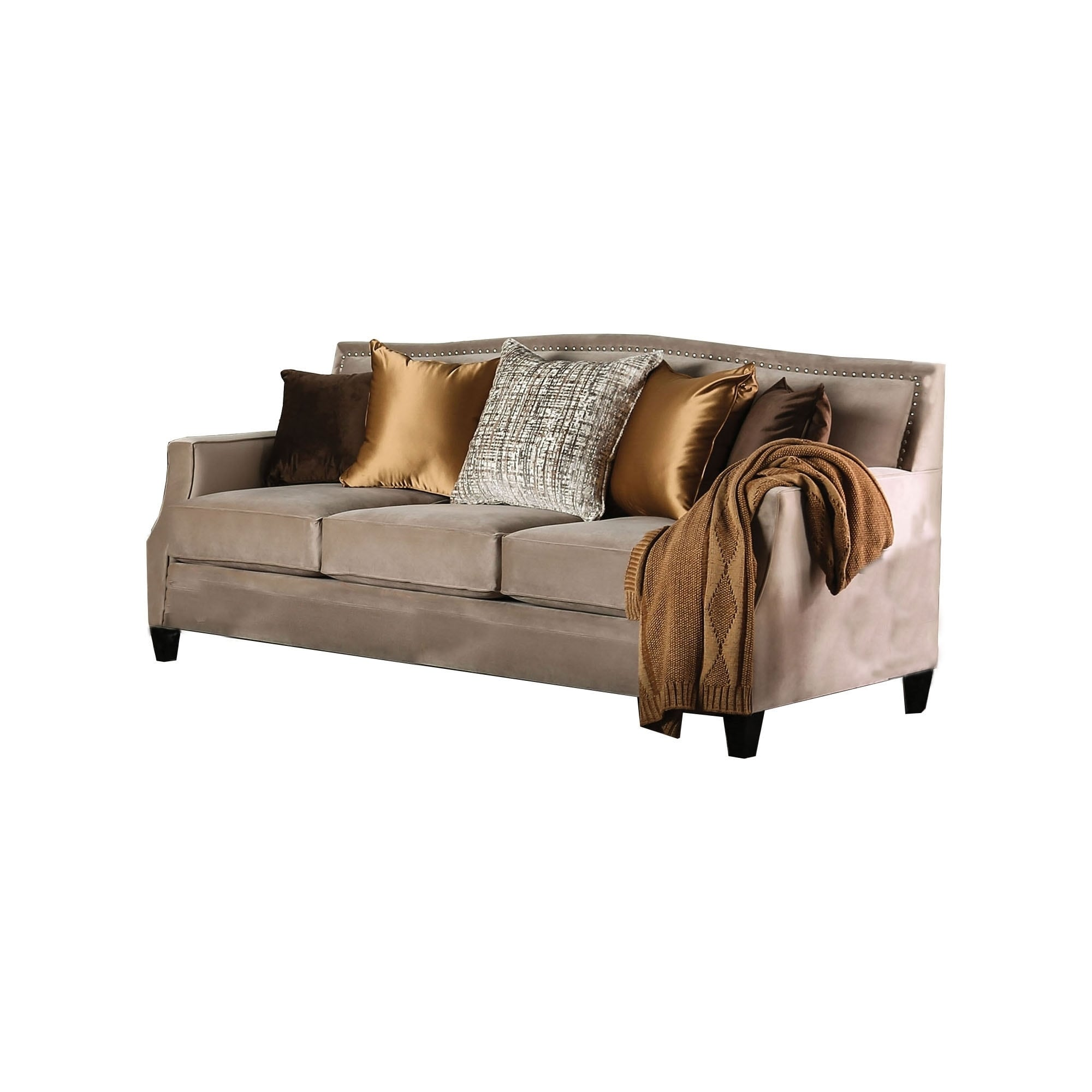 Fabric Upholstered Wooden Sofa