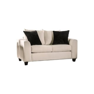 Transitional Fabric Upholstered Wooden Loveseat with Angled Arms,White