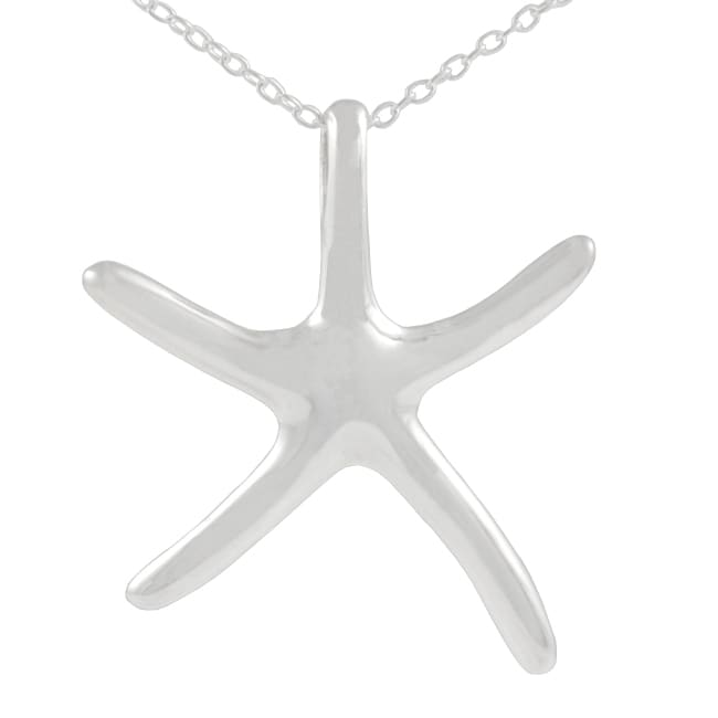 Journee Collection Sterling Silver Medium Starfish Necklace