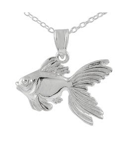 Journee Collection Sterling Silver High Polished Gold Fish Pendant