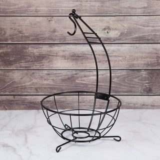 "Creative Home Deluxe Iron Works Banana Tree Fruit Basket with Black Powder Coating, 18.5"" Height, Dark Gray"