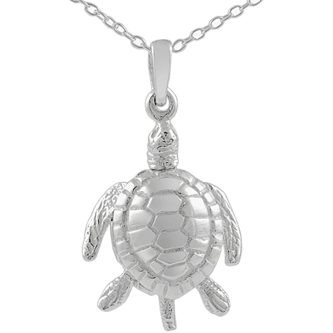 Journee Collection  Sterling Silver Medium Movable Sea Turtle Pendant