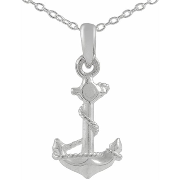 Journee Collection Sterling Silver Plain Anchor Charm Necklace